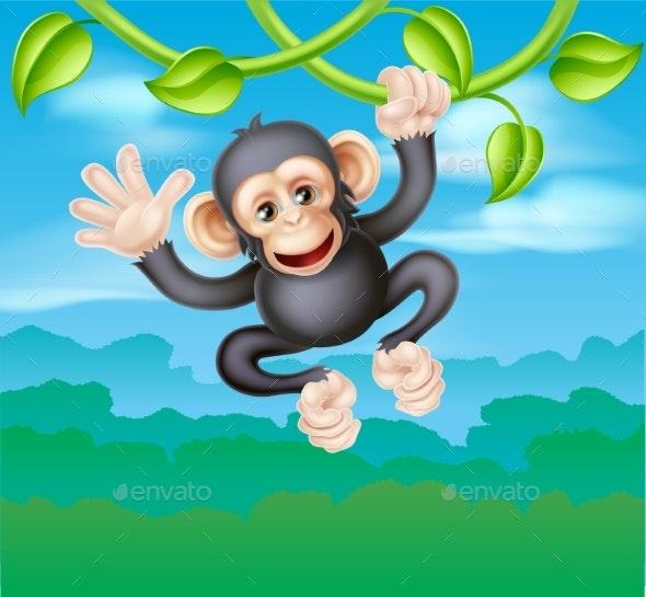 Swinging Cartoon Chimp - Animals Characters