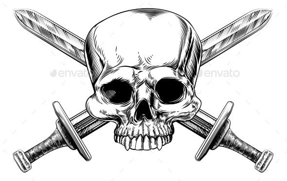 Skull and Cross Swords Woodcut - Miscellaneous Vectors