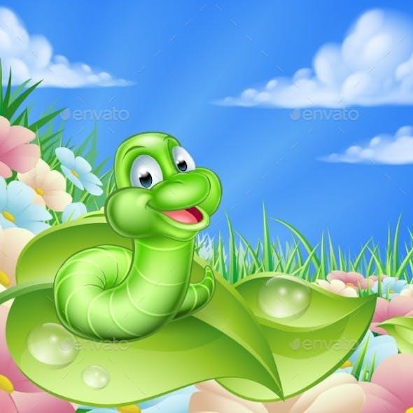 Cartoon Caterpillar in Meadow