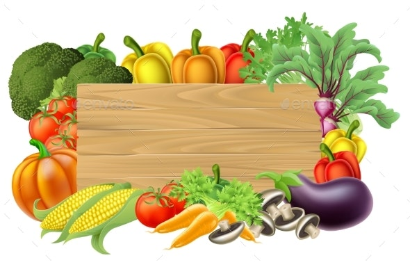 Fresh Vegetable Sign - Food Objects