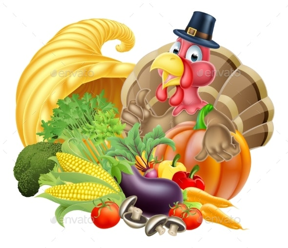 Thanksgiving Turkey and Cornucopia - Food Objects