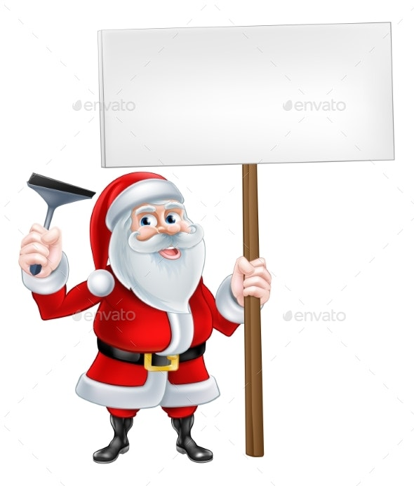 Santa Window Cleaner Sign - Seasons/Holidays Conceptual