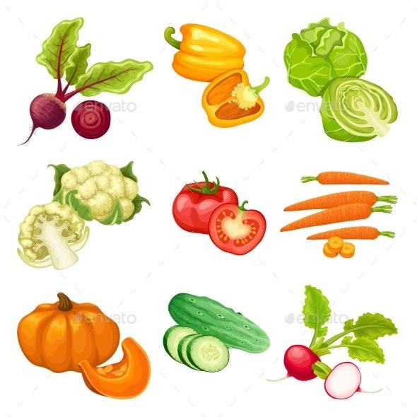 Cartoon Organic Vegetables Set - Food Objects