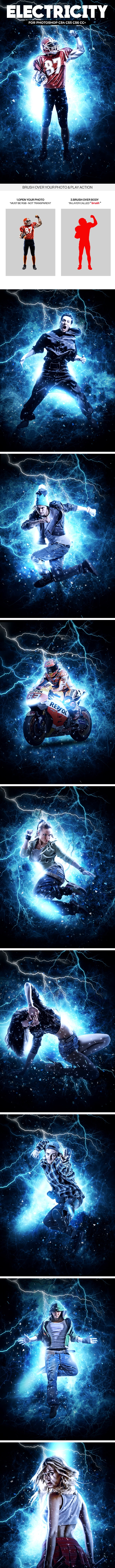 Electricity Photoshop Action - Photo Effects Actions