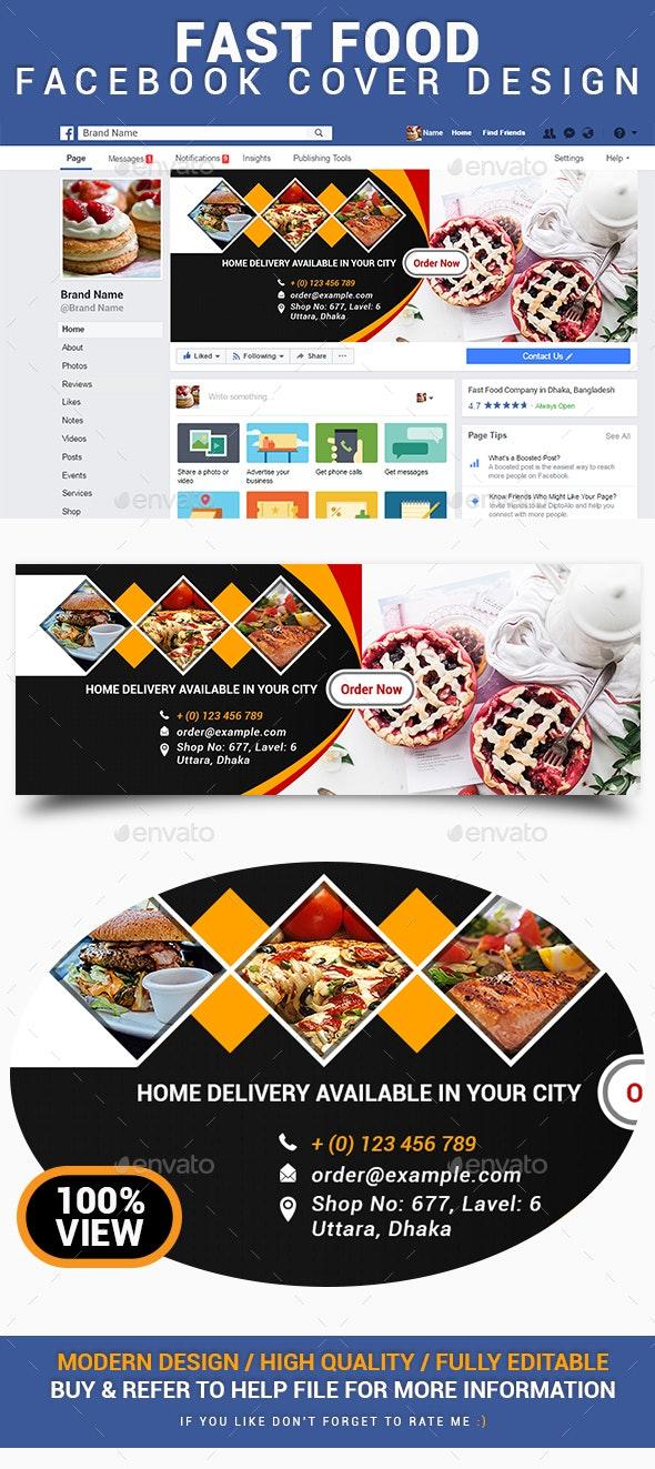 Fast Food Facebook Cover Design - Social Media Web Elements