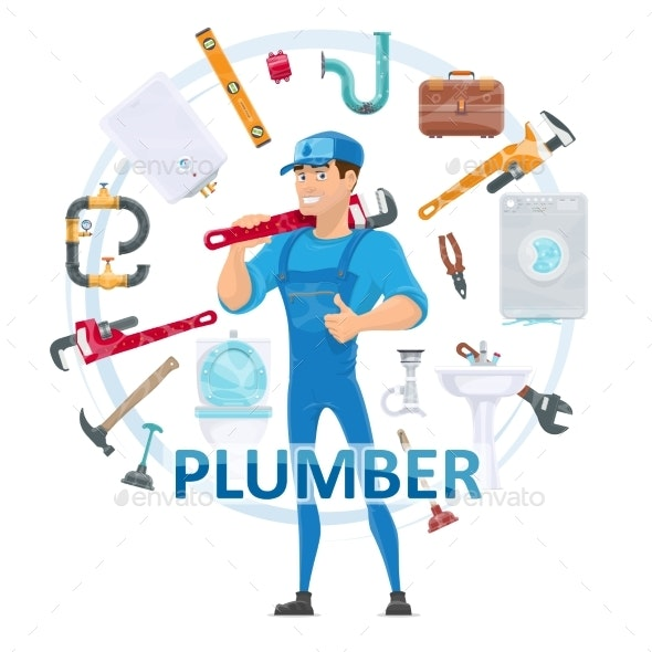Colorful Plumbing Round Concept - Services Commercial / Shopping