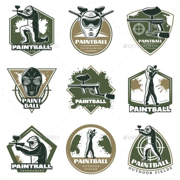 Colorful Vintage Active Leisure Emblems Set - Miscellaneous Vectors
