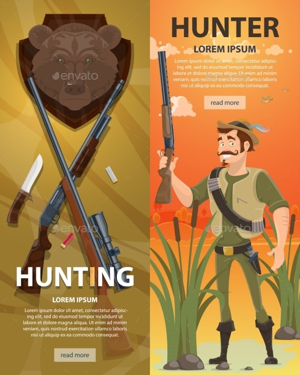 Hunting Vertical Banners - Backgrounds Decorative