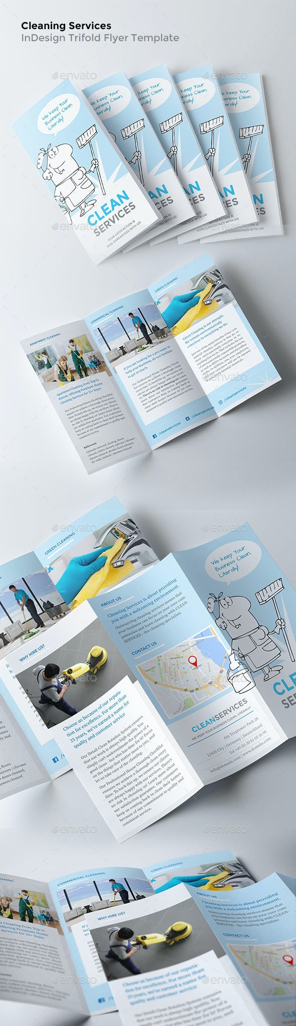 Cleaning Flyers - Print-Ready Trifold Template - Corporate Flyers