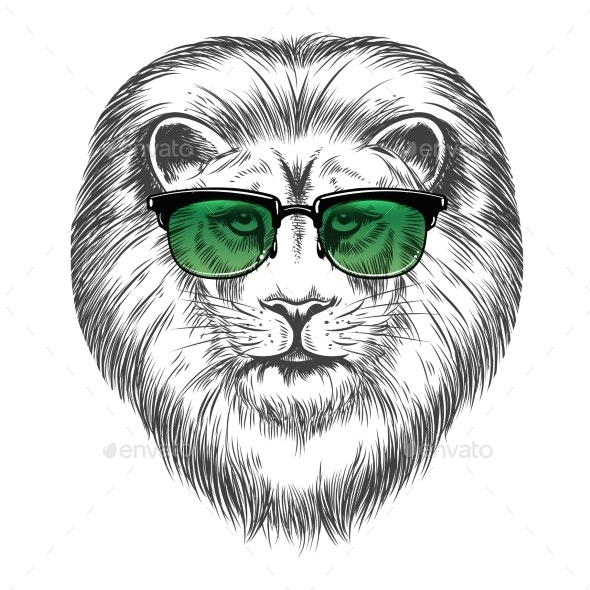Hipster Lion in Sunglassesprint Design - Animals Characters