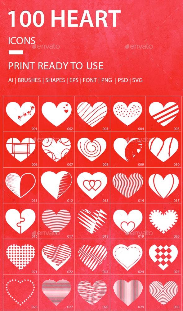 JI-Heart (100 Icons) - Abstract Icons