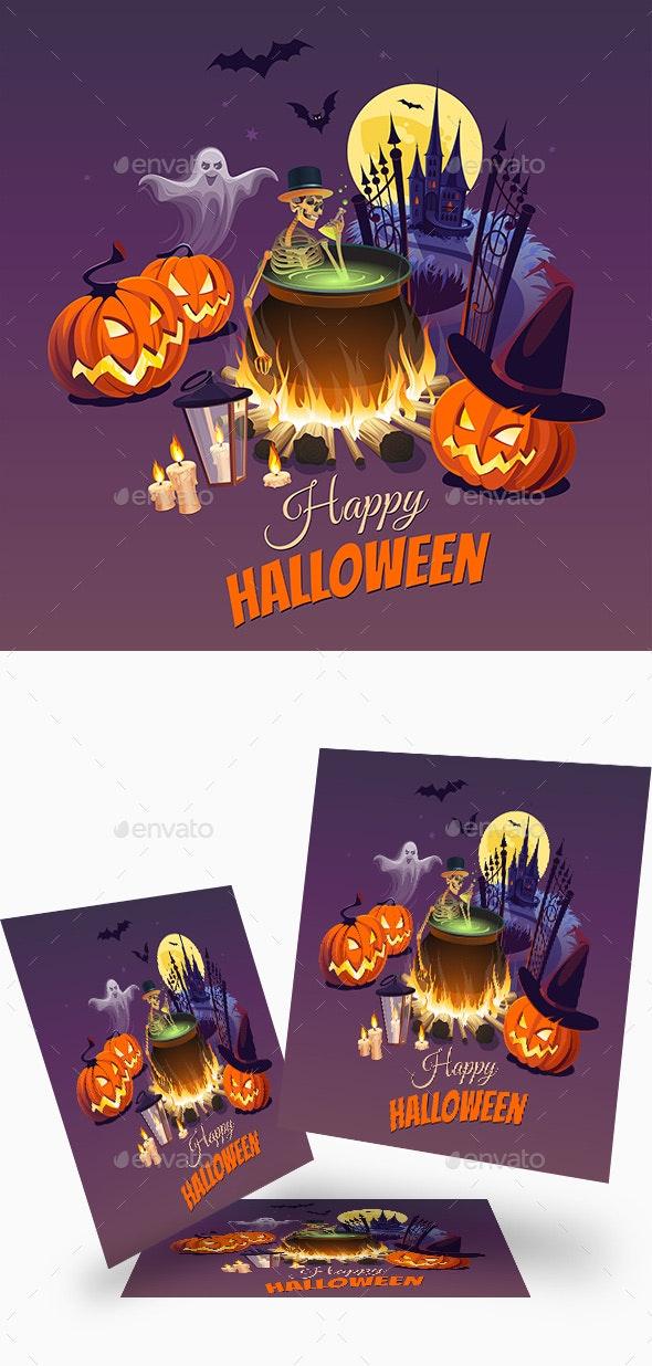 Happy Halloween Illustration - Halloween Seasons/Holidays