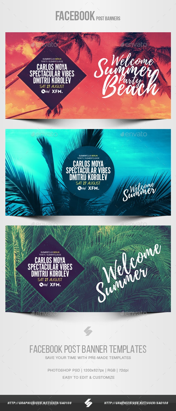 Electronic Music Party vol.20 - Facebook Post Banner Templates - Social Media Web Elements