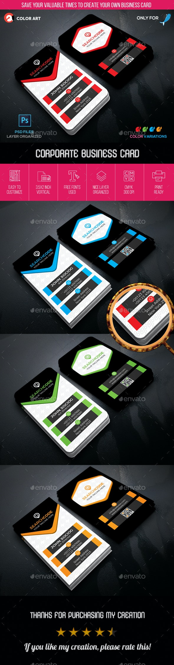 Corporate Business Card V.2 - Business Cards Print Templates
