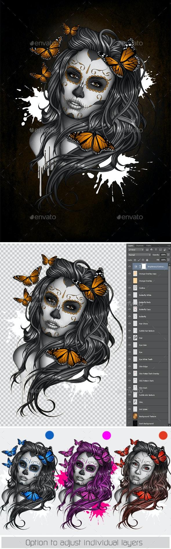 Sugar Skull Girl Tattoo - People Illustrations