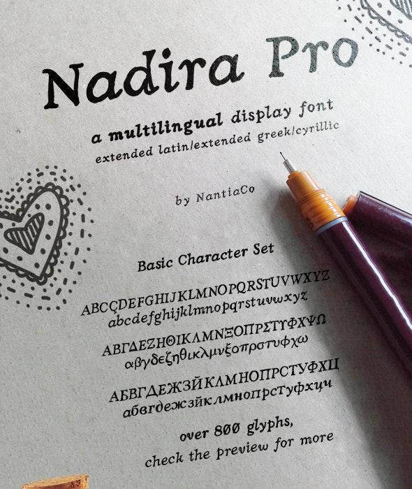Nadira Pro Greek Cyrillic Latin Font - Serif Fonts