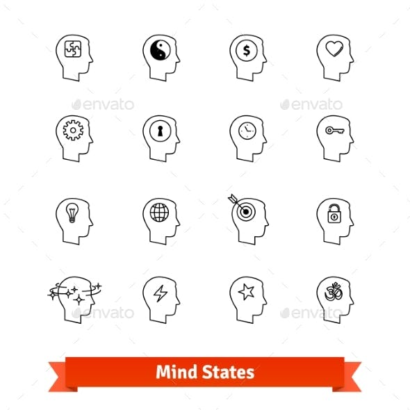 Mind States Thin Line Art Icons Set