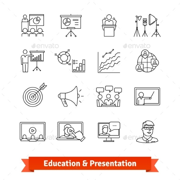 Online Education and Academic Presentation - Technology Icons