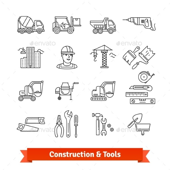 Building Site Engineering and Tools Set - Industries Business