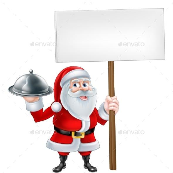 Cartoon Santa Holding Platter Sign