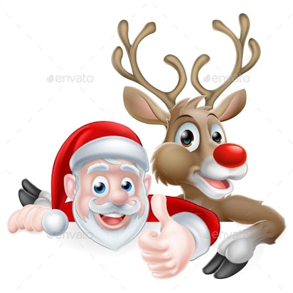 Santa and Reindeer Sign