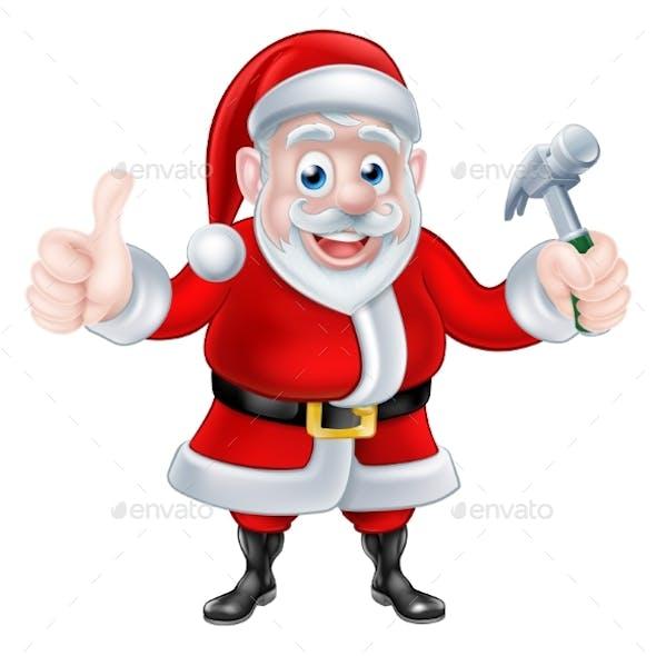 Cartoon Santa Giving Thumbs Up and Holding Hammer