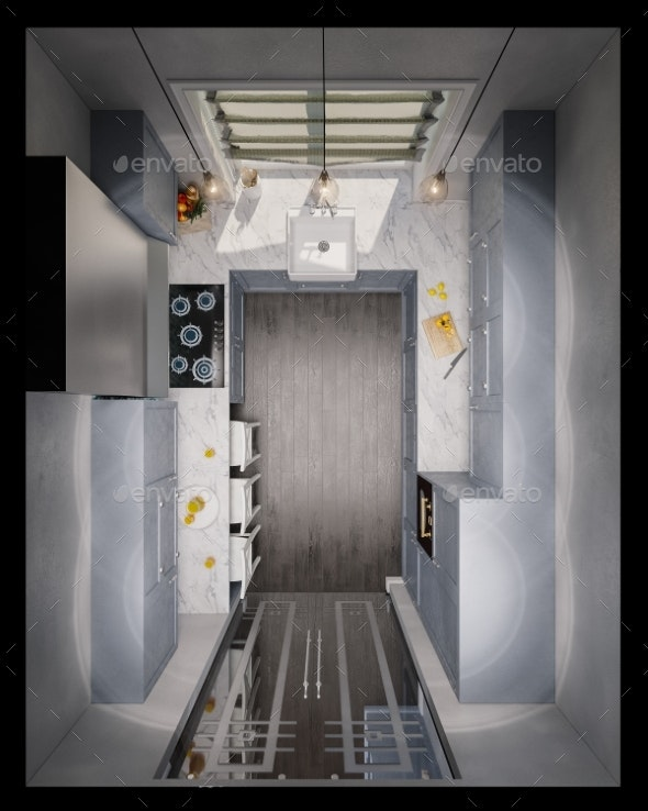 3d Illustration of the Interior Design Kitchen - Architecture 3D Renders