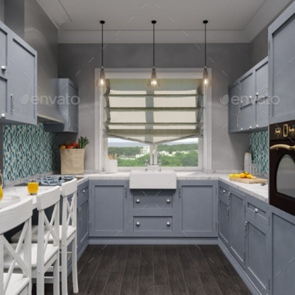 3d Illustration of the Interior Design Kitchen