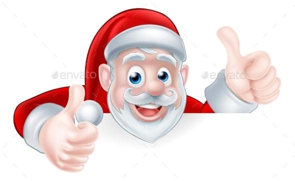 Thumbs Up Santa - Christmas Seasons/Holidays
