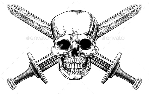 Skull Cross Swords - Miscellaneous Vectors
