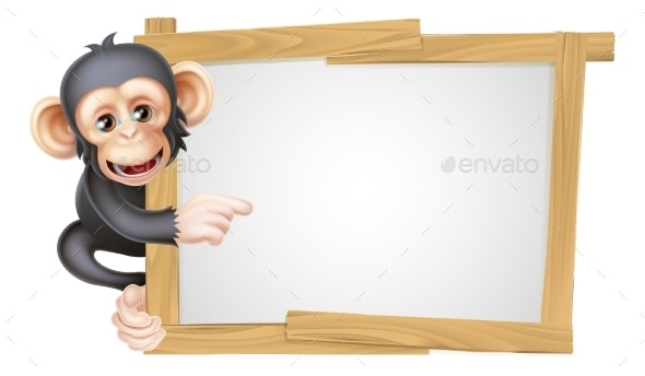 Cartoon Chimp Sign - Animals Characters