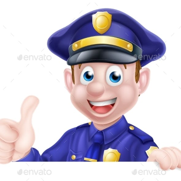 Thumbs Up Police Man Sign