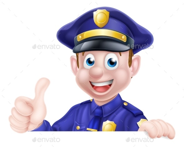 Thumbs Up Police Man Sign - People Characters