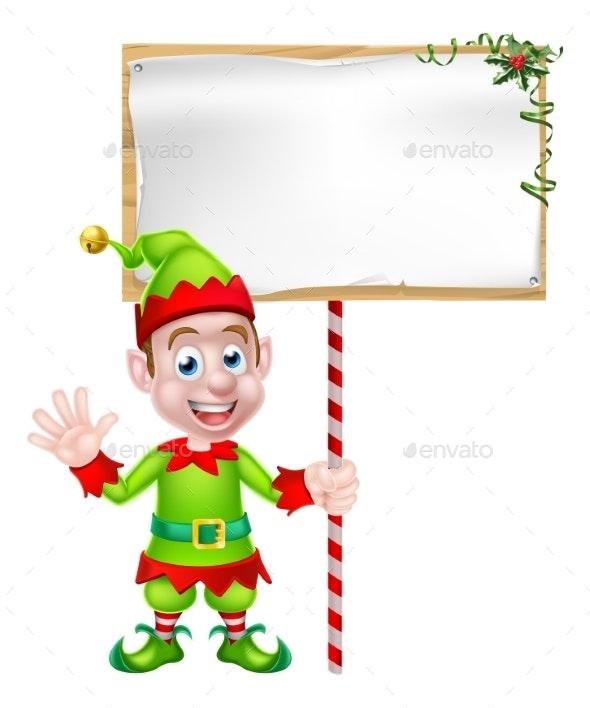 Cartoon Christmas Elf Sign - Christmas Seasons/Holidays
