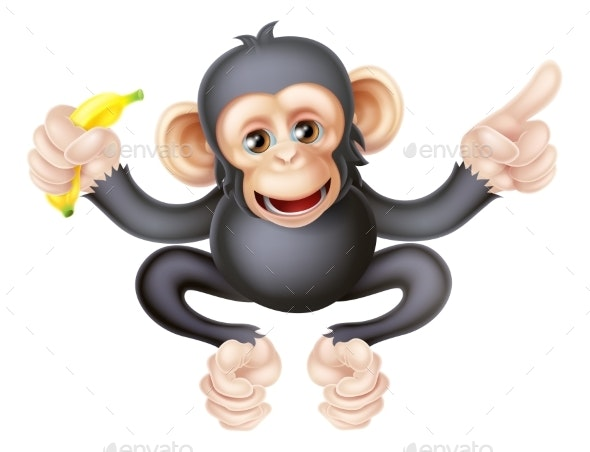 Cartoon Chimp with Banana Pointing - Animals Characters