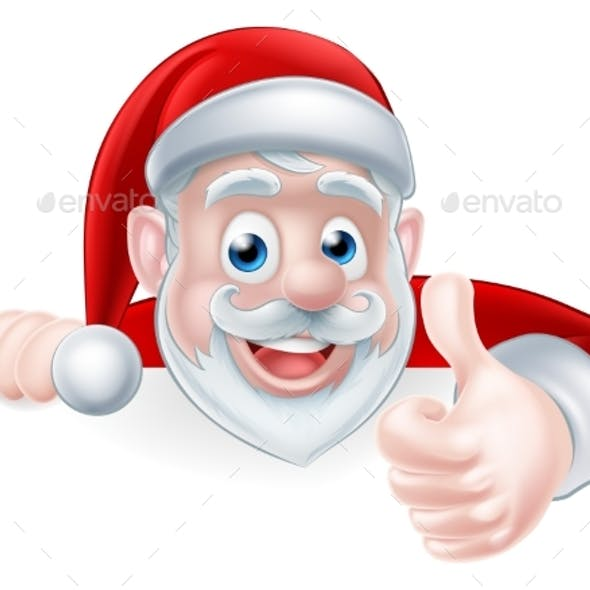 Santa Above Sign Thumbs Up