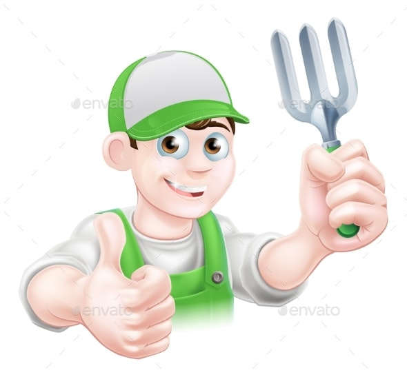 Cartoon Happy Gardener with Fork - People Characters