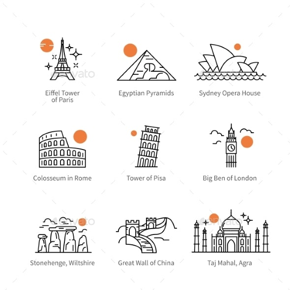 City Travel Landmarks of Europe, Asia and Africa - Buildings Objects