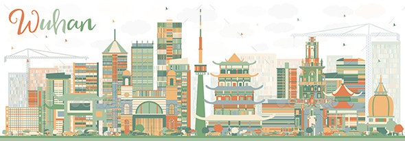 Abstract Wuhan Skyline with Color Buildings. - Buildings Objects