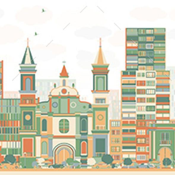 Abstract Tegucigalpa Skyline with Color Buildings.