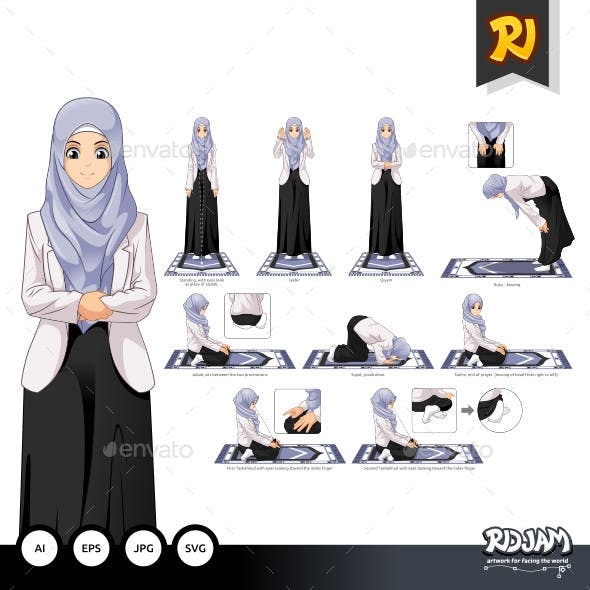 Complete Set of Muslim Woman Prayer Position Guide Step by Step Vector Illustration