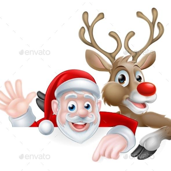 Santa and Reindeer Christmas Illustration