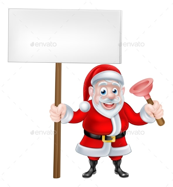 Cartoon Santa Holding Sign and Plunger - Miscellaneous Vectors