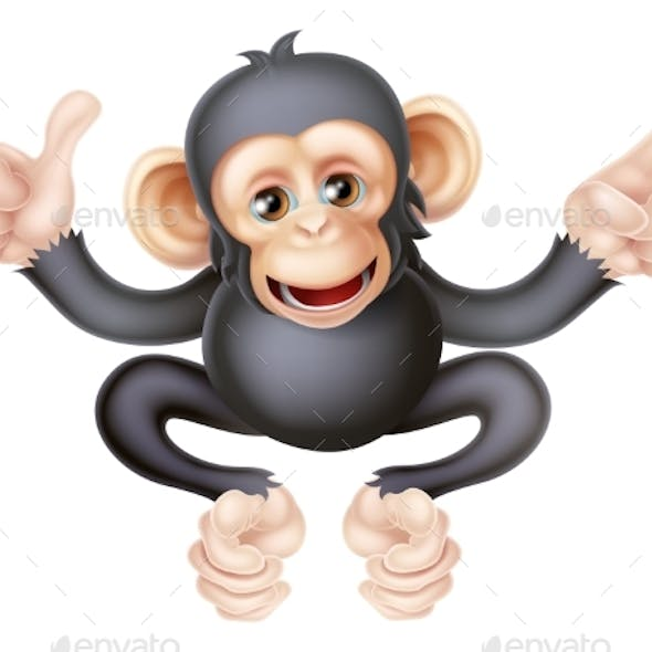 Thumbs Up Pointing Monkey Chimp