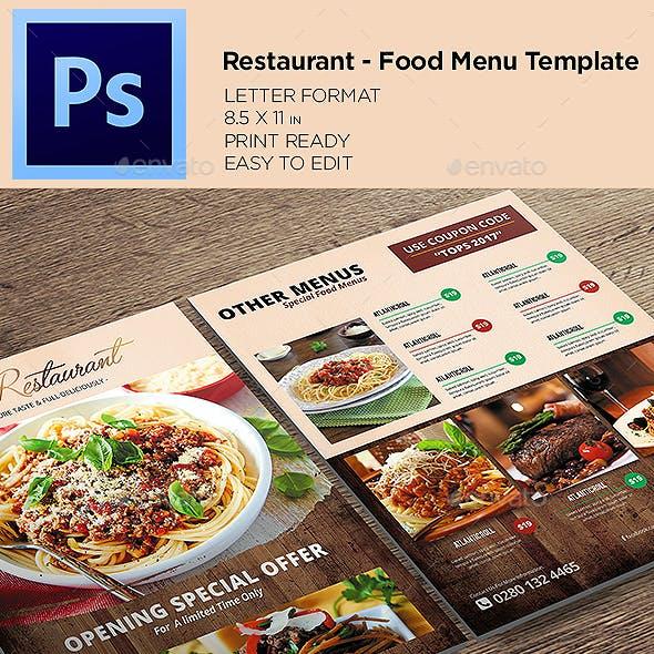 Restaurant Menu- Food Menu Flyer Template