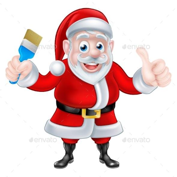 Cartoon Santa Giving Thumbs Up Holding Paintbrush