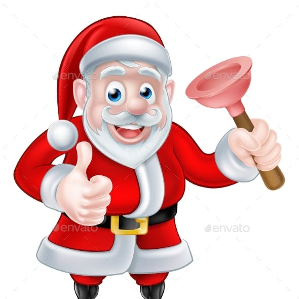Cartoon Santa Giving Thumbs Up and Holding Plunger