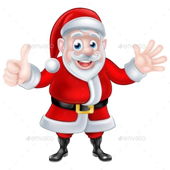 Thumbs Up Waving Cartoon Santa