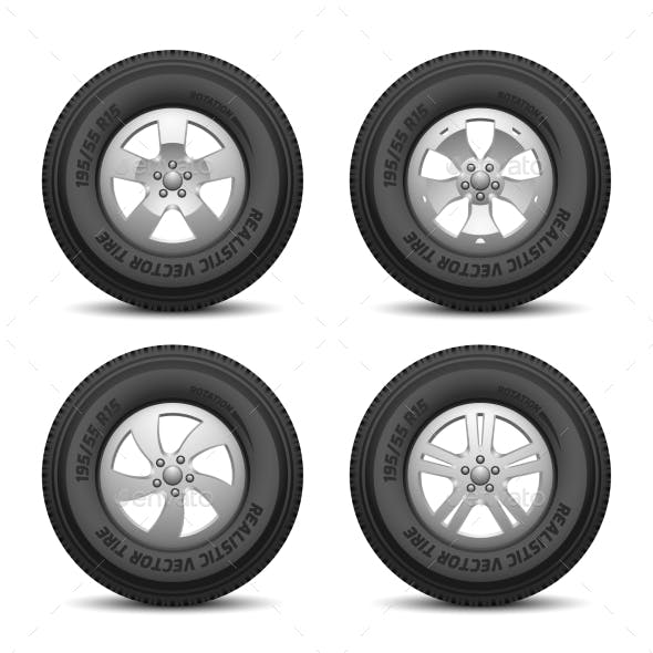 Truck and Car Wheels with Tires and Disk Vector