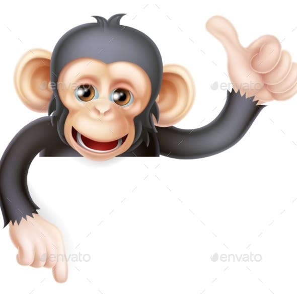 Thumbs Up Monkey Chimp Sign